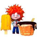 El muchacho con helado ilustración del vector