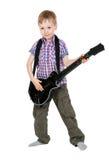 El muchacho con la guitarra electrónica Foto de archivo libre de regalías