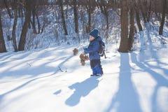 El muchacho con la rama se coloca en la nieve Fotos de archivo libres de regalías