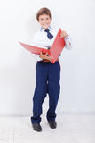 El muchacho con las carpetas Fotografía de archivo
