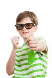 El muchacho con los vidrios 3D Fotos de archivo libres de regalías