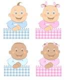 El muchacho de bebés y la mascota de la muchacha fijaron 3 Imágenes de archivo libres de regalías