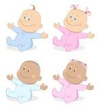 El muchacho de bebés y la mascota de la muchacha fijaron 4 Imágenes de archivo libres de regalías