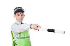 El muchacho de diez años juega al policía Fotos de archivo libres de regalías