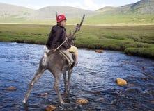 El muchacho de Dukha monta el reno a través del río foto de archivo