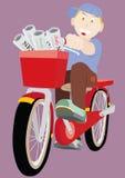 El muchacho de periódico monta la bicicleta Foto de archivo libre de regalías