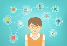 El muchacho del genio interesa Infographics conceptual Imágenes de archivo libres de regalías