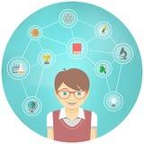 El muchacho del genio interesa Infographics conceptual Imagen de archivo