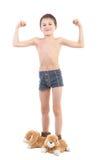 El muchacho en deslizador-conejos Foto de archivo