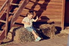 El muchacho en el heno Imagen de archivo