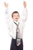 El muchacho es manos para arriba Foto de archivo libre de regalías