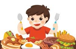 El muchacho está comiendo las comidas stock de ilustración