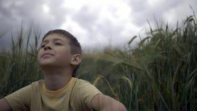 El muchacho feliz se sienta en un campo y miradas de trigo en el cielo hermoso lluvioso foto de archivo