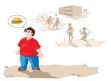 El muchacho gordo quiere una hamburguesa ilustración del vector