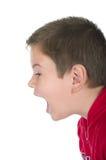 El muchacho grita en alta voz Fotos de archivo