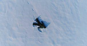 El muchacho hace el ángel de la nieve, cantidad aérea Cámara que se acerca y que da vuelta lentamente metrajes