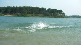 El muchacho hace un salto en el lago metrajes