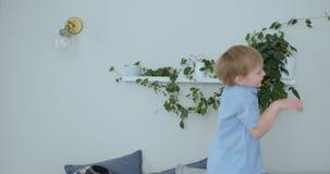 El muchacho hermoso con el pelo blanco y la camisa azul está saltando en el sofá y está mirando la cámara en la cámara lenta metrajes