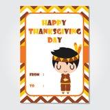El muchacho indio lindo es ejemplo de la historieta el dormir para el diseño de tarjeta del día del ` s de la acción de gracias Imagen de archivo libre de regalías
