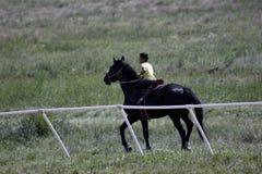 El muchacho joven del Kazakh monta su caballo puro de la raza en una estepa Foto de archivo
