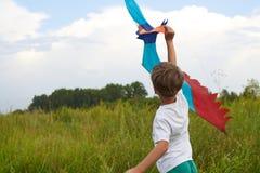 El muchacho lanza en el cielo azul una cometa fotografía de archivo libre de regalías