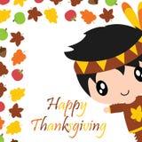 El muchacho, las hojas de arce y la manzana indios lindos confinan el ejemplo de la historieta para el diseño de tarjeta del día  Imagenes de archivo