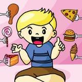 El muchacho le gustan los alimentos de preparación rápida Imagen de archivo libre de regalías