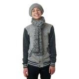 El muchacho lindo del adolescente en suéter gris sobre blanco aisló el fondo Fotos de archivo libres de regalías