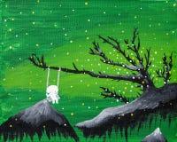 El muchacho lindo del fantasma se sienta en un oscilación en un paisaje flotante verde de la fantasía libre illustration