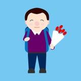 El muchacho lindo va a la escuela con el ramo de flores y de mochila Colegial stock de ilustración