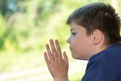 El muchacho mira hacia fuera la ventana en el tren Imagen de archivo libre de regalías