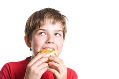 El muchacho que come una hamburguesa. Imágenes de archivo libres de regalías