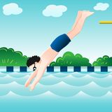 El muchacho que salta, en el agua en el ejemplo del piscina-vector stock de ilustración