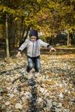 El muchacho que salta en hojas secas Imagen de archivo