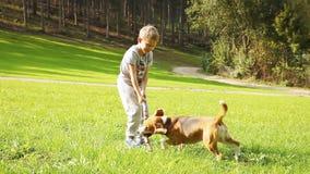 El muchacho rubio juega con su amigo del perro del beagle
