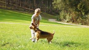 El muchacho rubio juega con su amigo del perro del beagle almacen de video