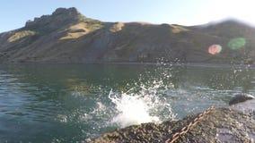 El muchacho salta en agua de mar del embarcadero almacen de metraje de vídeo