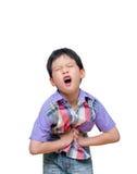 El muchacho tiene dolor de estómago Fotos de archivo