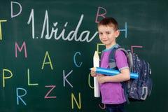 El muchacho va a la primera clase Fotografía de archivo
