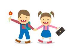 El muchacho y la muchacha de Síndrome de Down van a la escuela, vector Fotografía de archivo