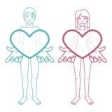 El muchacho y la muchacha están llevando a cabo corazones Fotografía de archivo libre de regalías