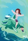 El muchacho y la muchacha están montando en delfín Fotografía de archivo