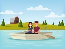 El muchacho y la muchacha están navegando en un barco El par joven está relajante prendido Stock de ilustración
