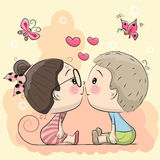 El muchacho y la muchacha lindos de la historieta se están besando ilustración del vector