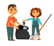 El muchacho y la muchacha se llevan el ejemplo aislado los desperdicios stock de ilustración
