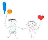 El muchacho y la muchacha son amigos Stock de ilustración