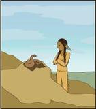 El muchacho y la serpiente Imagen de archivo