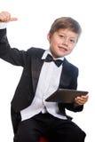 El muchacho y la tableta listos, aislados fotos de archivo libres de regalías