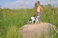 El muchacho y una cabra en un canto rodado Foto de archivo