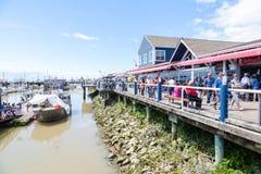 El muelle del pescador en el pueblo de Steveston en Richmond, A.C. Foto de archivo libre de regalías